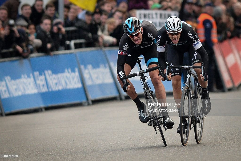 British <a gi-track='captionPersonalityLinkClicked' href=/galleries/search?phrase=Ian+Stannard&family=editorial&specificpeople=3472614 ng-click='$event.stopPropagation()'>Ian Stannard</a> of Team Sky and Dutch <a gi-track='captionPersonalityLinkClicked' href=/galleries/search?phrase=Niki+Terpstra&family=editorial&specificpeople=609813 ng-click='$event.stopPropagation()'>Niki Terpstra</a> of team Ettix - Quick-Step sprint for the finish of the 'Omloop Het Nieuwsblad', the first cycling race of the season in Belgium, 198 km from Gent to Gentbrugge , on February 28, 2015 for the 70th edition of this race.