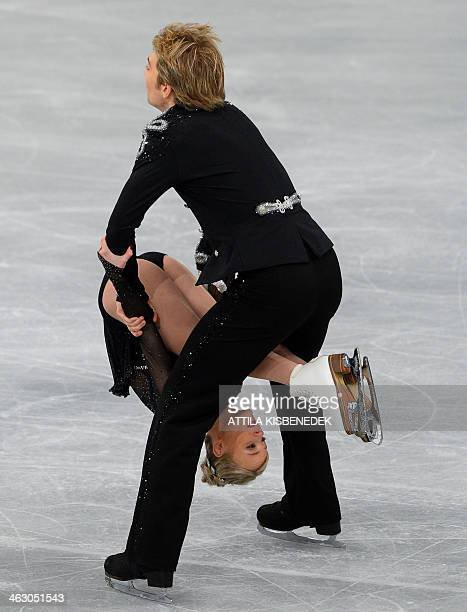 British ice dance pair Penny Coomes and Nicholas Buckland perform their free dance programme during the ISU European Figure Skating Championships on...