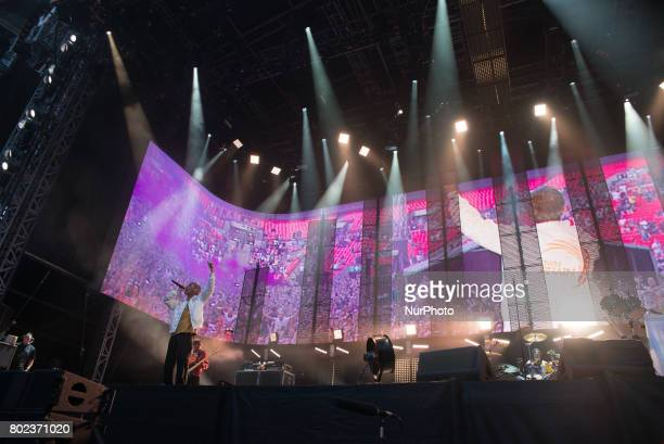 British iconic rock band The Stone Roses perform on stage at Wembley Stadium London on June 17 2017 The band consists in Ian Brown John Squire Gary...