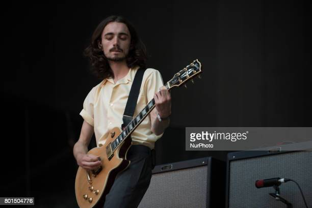 British indie pop band Blossoms perform live on stage at Wembley Stadium London on June 17 2017 The band consists of Tom Ogden Charlie Salt Josh...