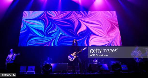 British indie pop band Blossoms performs during the 'We Are Manchester' charity concert at the Manchester Arena in Manchester northwest England on...