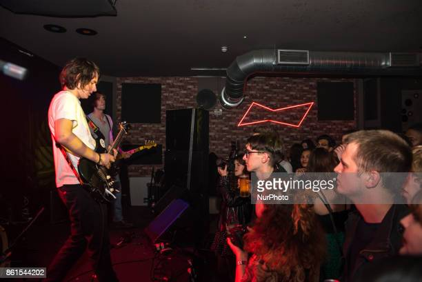 British indie rock band False Heads perform on stage at Nambucca in London on October 14 2017 The lineup consists of Luke Griffith Jake Elliott and...