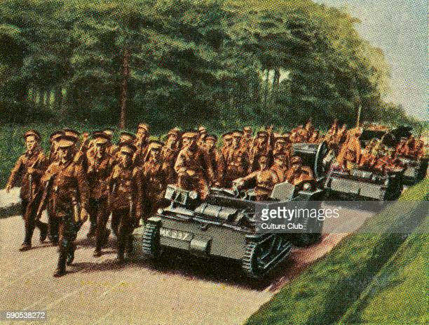 British infantry advamce accompanied by 2man tank Cigarette cards published in Germany c1934 reviewing military equipment in arms race prior to WW2
