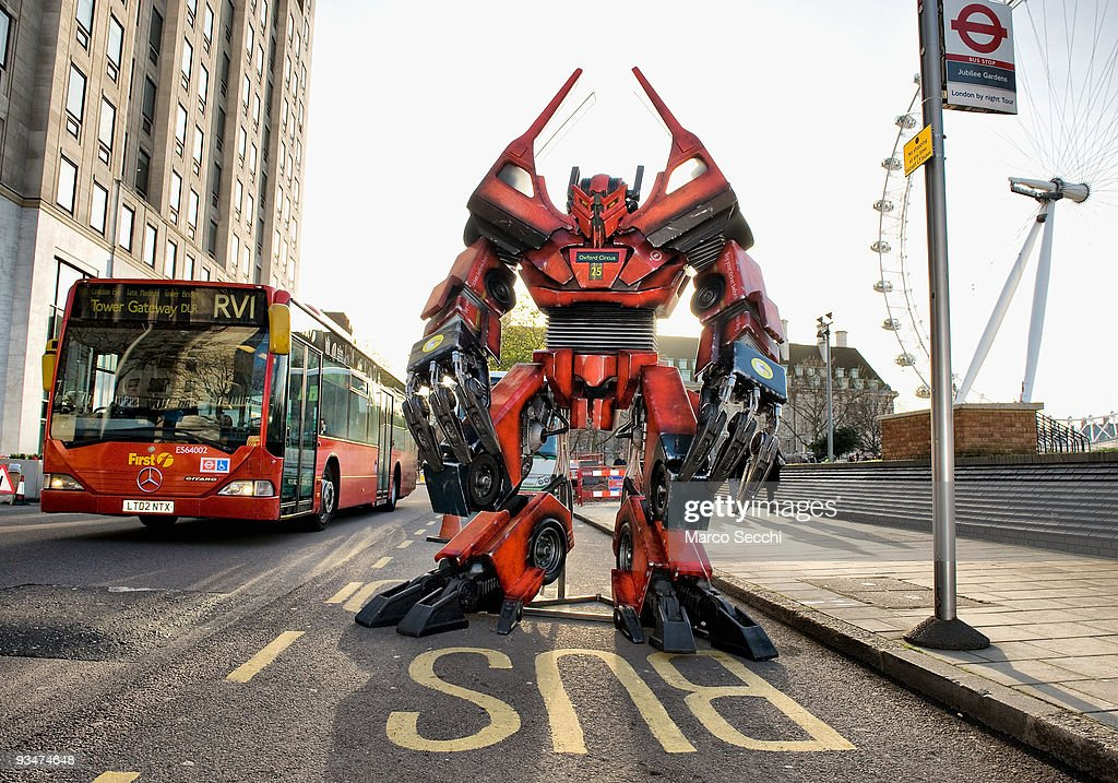 British inspired Transformer made from original bus parts is displayed at a Bus Stop near the London Eye on November 28 2009 in London England...