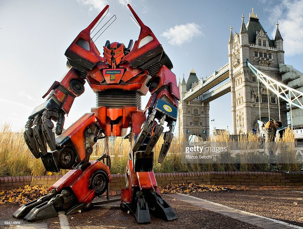 British inspired Transformer made from original bus parts is displayed in front of Tower Bridge on November 28 2009 in London England Twitter fans...