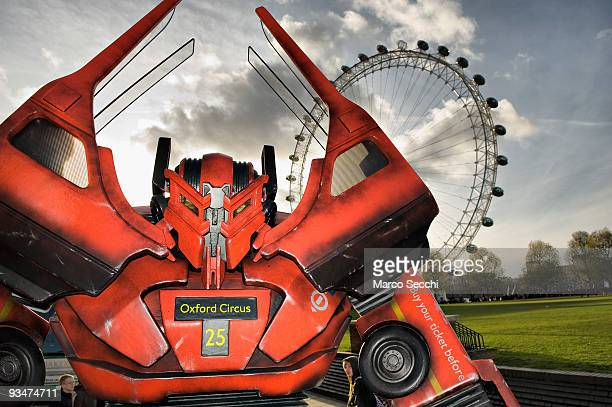 British inspired Transformer made from original bus parts is displayed in front of the London Eye on November 28 2009 in London England Twitter fans...