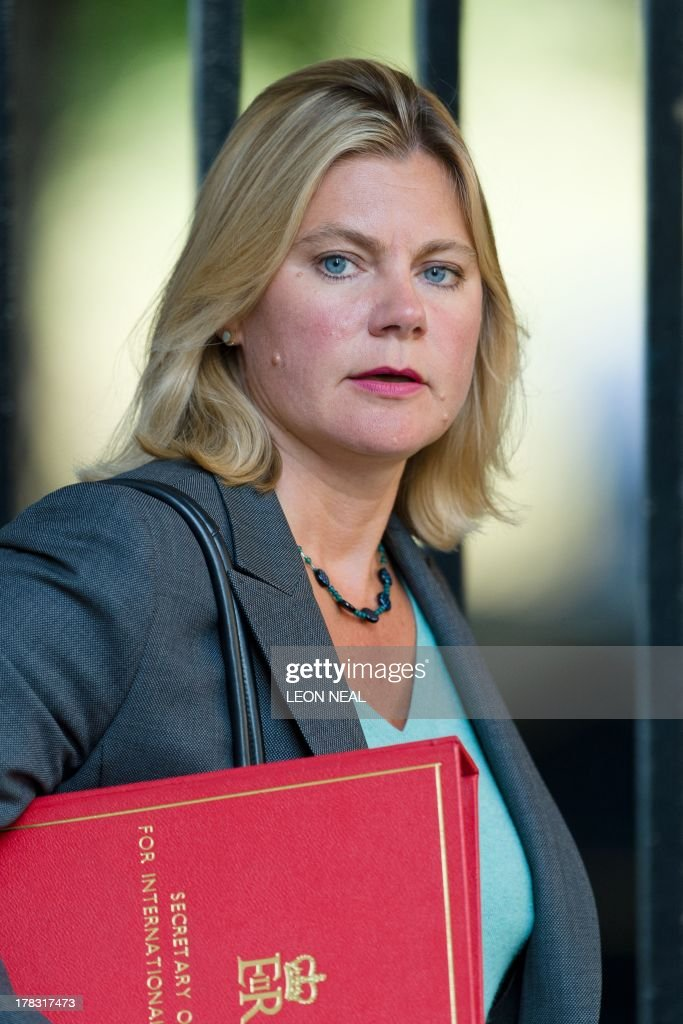 British International Development Secretary Justine Greening arrives at 10 Downing Street in central London on August 29, 2013 ahead of a Cabinet meeting to discuss a response to Syria following chemical attacks that Britain believe were launched by the Syrian regime. British lawmakers were on August 29, set to vote on Britain's response to chemical weapons attacks in Syria -- but any military action will require a second parliamentary vote.