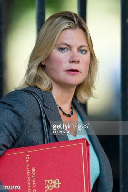 British International Development Secretary Justine Greening arrives at 10 Downing Street in central London on August 29 2013 ahead of a Cabinet...