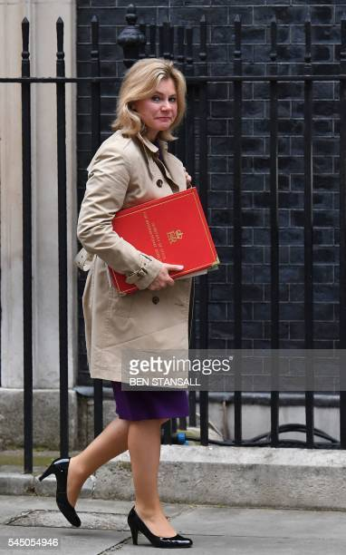 British International Development Secretary Justine Greening arrives to attend a cabinet meeting in central London on July 5 2016 In a move that sent...