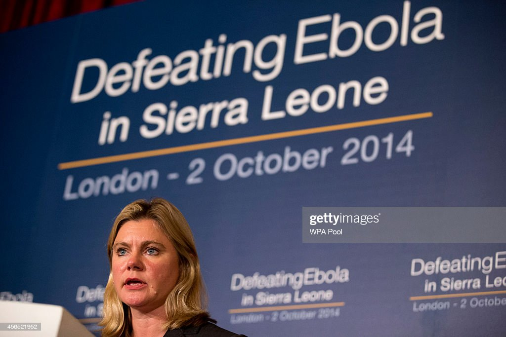 British International Development Secretary <a gi-track='captionPersonalityLinkClicked' href=/galleries/search?phrase=Justine+Greening&family=editorial&specificpeople=2466449 ng-click='$event.stopPropagation()'>Justine Greening</a> speaks at the 'Defeating Ebola: Sierra Leone' conference at Lancaster House on October 2, 2014 in London, England. Britain hosted an international conference today to help organise the fight against Ebola in its former colony Sierra Leone, as a charity warned that five people were becoming infected every hour in the West African nation.