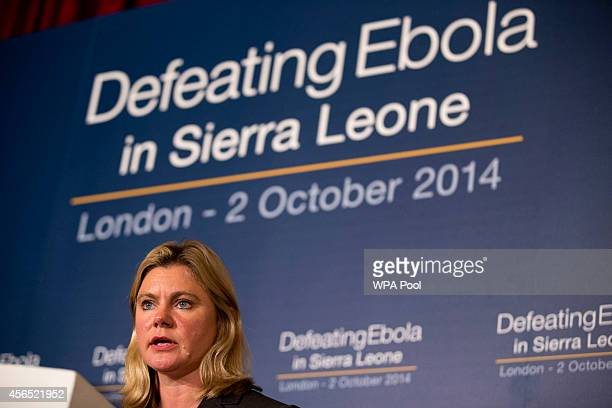 British International Development Secretary Justine Greening speaks at the 'Defeating Ebola Sierra Leone' conference at Lancaster House on October 2...