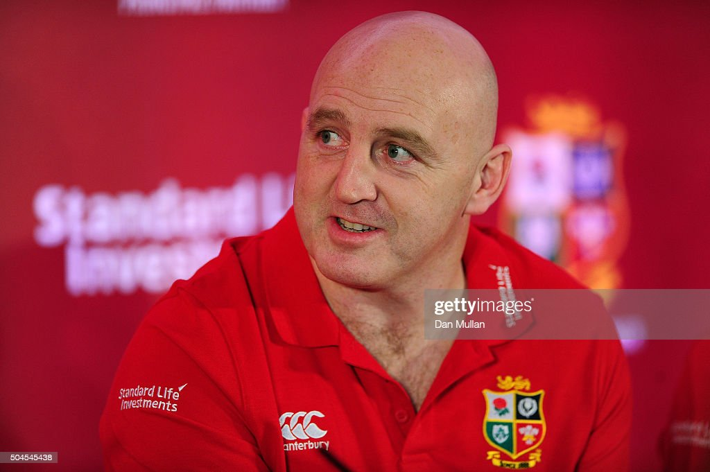 British & Irish Lions Ambassador <a gi-track='captionPersonalityLinkClicked' href=/galleries/search?phrase=Keith+Wood&family=editorial&specificpeople=855185 ng-click='$event.stopPropagation()'>Keith Wood</a> of Ireland addresses the media during the British & Irish Lions 2017 Tour Media Briefing at The Gherkin on January 11, 2016 in London, England.