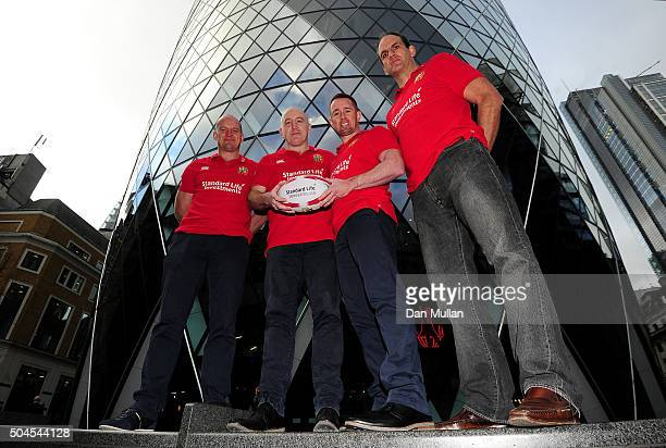 British Irish Lions Ambassadors Gregor Townsend of Scotland Keith Wood of Ireland Shane Williams of Wales and Martin Johnson of England pose during...