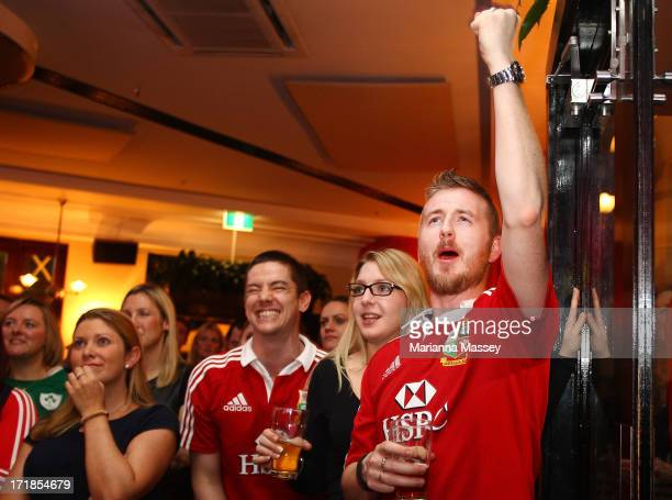 British Irish Lions fans watch the International Test match in Melbourne between the Australian Wallabies and the British Irish Lions at The Light...