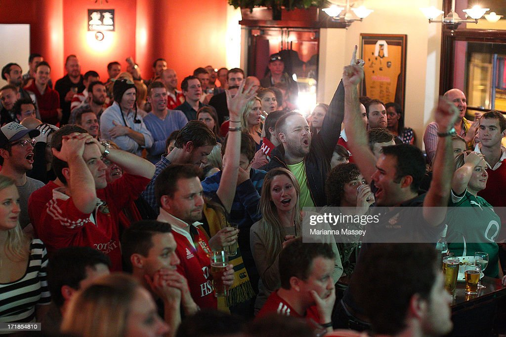 British & Irish Lions fans watch the International Test match in Melbourne between the Australian Wallabies and the British & Irish Lions at The Light Brigade Hotel on June 29, 2013 in Sydney, Australia.