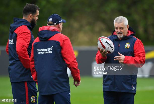 British Irish Lions head coach Warren Gatland in discussion with coaches Andy Farrell and Neil Jenkins during a British and Irish Lions training...