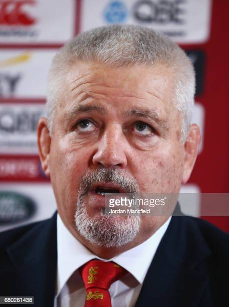British Irish Lions Head Coach Warren Gatland speaks during a British and Irish Lions press conference at London Syon Park Hotel on May 8 2017 in...