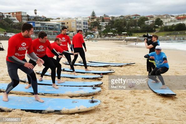 British Irish Lions players Alex Cuthbert Justin Tipuric Rory Best Connor Murray and Toby Faletau take part surfing lessons on Bondi Beach on June 15...