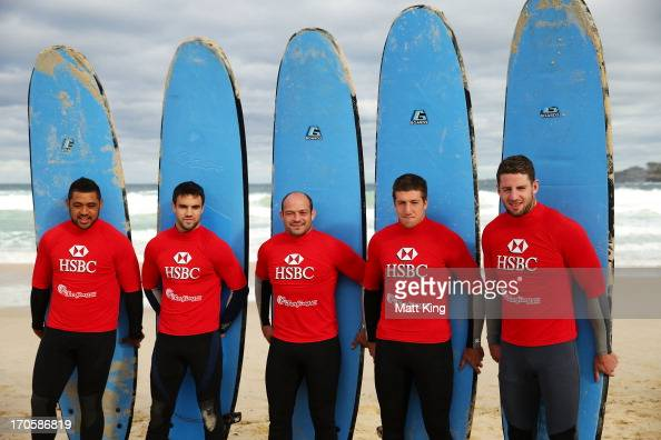 British Irish Lions players Toby Faletau Connor Murray Rory Best Justin Tipuric and Alex Cuthbert take part surfing lessons on Bondi Beach on June 15...