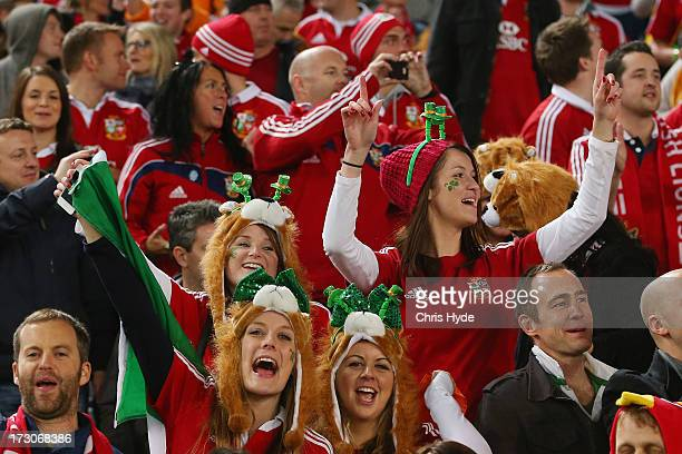 British Irish Lions supporters celebrate during the International Test match between the Australian Wallabies and British Irish Lions at ANZ Stadium...