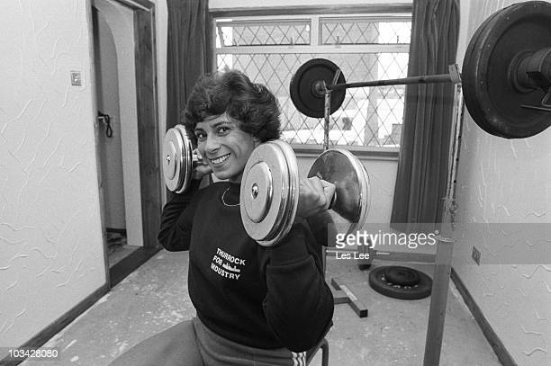 British javelin thrower Fatima Whibread trains at home on March 27 1984