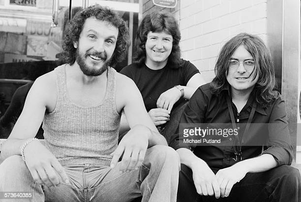 British jazz trio Back Door at Ronnie Scott's jazz club London 21st June 1976 Left to right bassist Colin Hodgkinson drummer Adrian Tilbrook and...