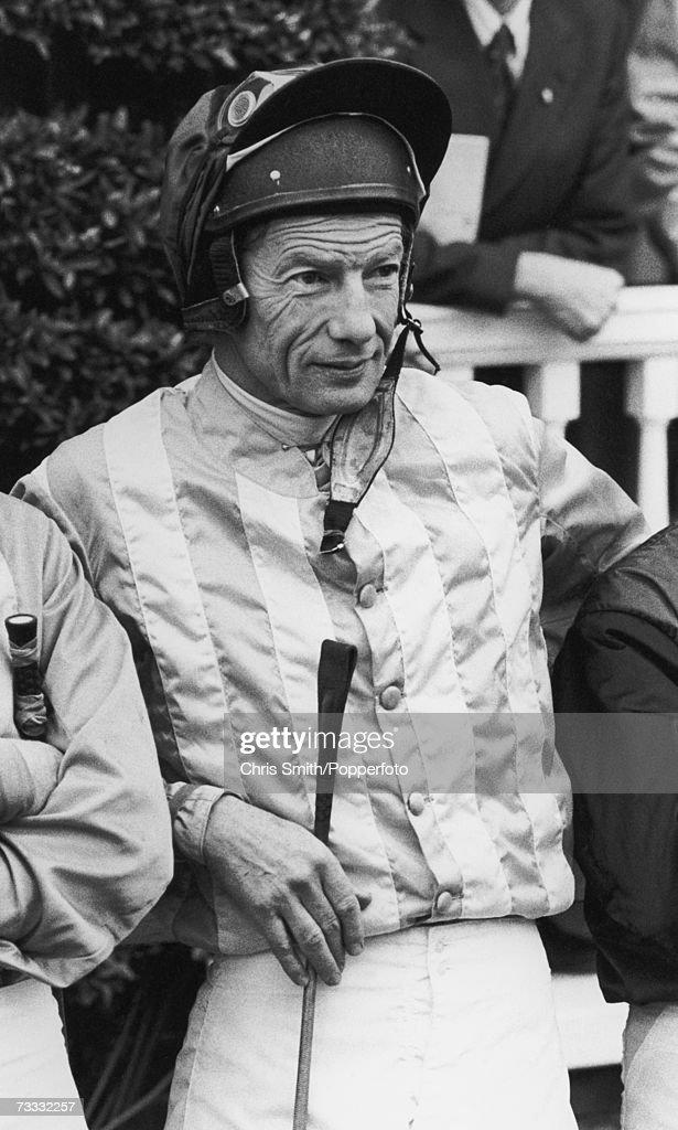 British jockey Lester Piggott in his silks, 1980s.