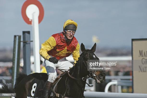 British jockey Richard Dunwoody pictured on Irish bred mount Miinnehoma just after winning the 1994 Grand National steeplechase during the Grand...