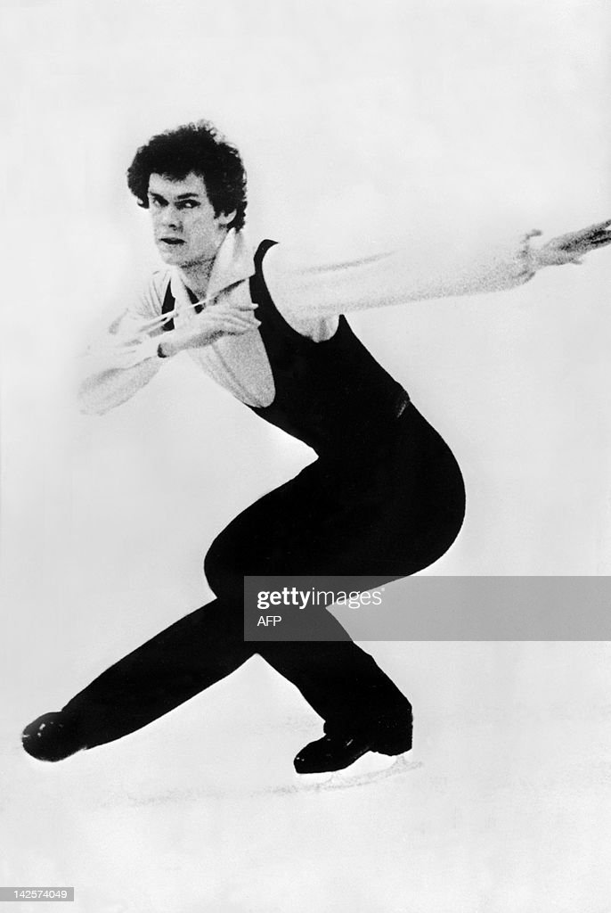 British John Curry performs his program during the men's figure skating competition 09 February 1976 in Innsbruck at the Winter Olympic Games. John Curry won the gold medal in front of Vladimir Kovalev (silver) from the Soviet Union and Canadian <a gi-track='captionPersonalityLinkClicked' href=/galleries/search?phrase=Toller+Cranston&family=editorial&specificpeople=2621539 ng-click='$event.stopPropagation()'>Toller Cranston</a> (bronze).