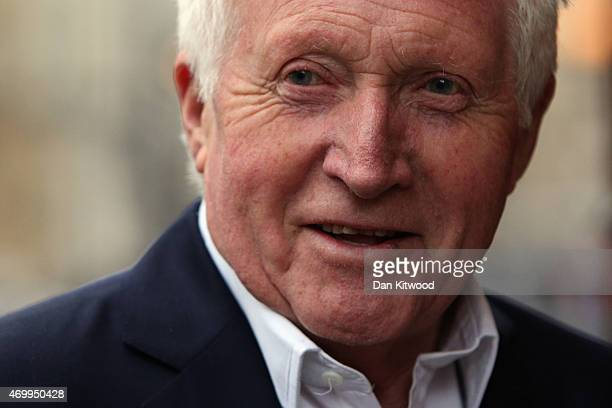 British journalist and TV presenter David Dimbleby arrives at Methodist Central Hall ahead of tonights Live TV debate on April 16 2015 in London...