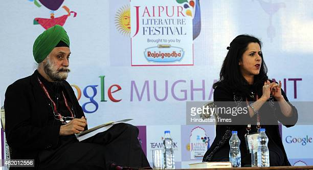 British journalist Anita Anand and Indian authorcolumnist and diplomat Navtej Sarna during a session on Sophia Duleep Singh Princess Suffragette...