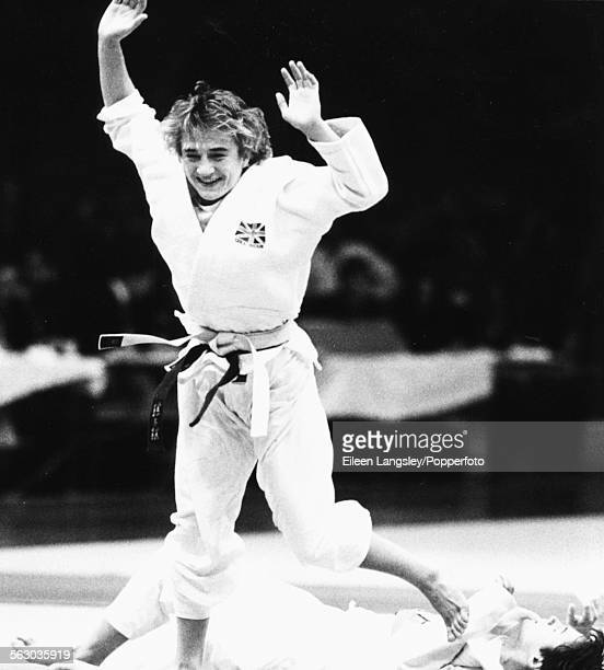 British judoka Karen Briggs celebrates as she wins and retains the world title at the Judo World Championships in Vienna Austria in November 1984