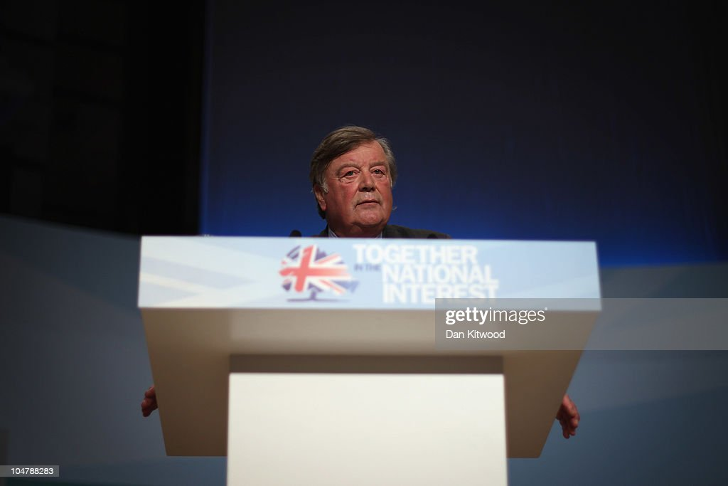 British Justice Secretary Ken Clarke speaks at the Conservative Party Conference on October 5 2010 in Birmingham England On the third day of the...