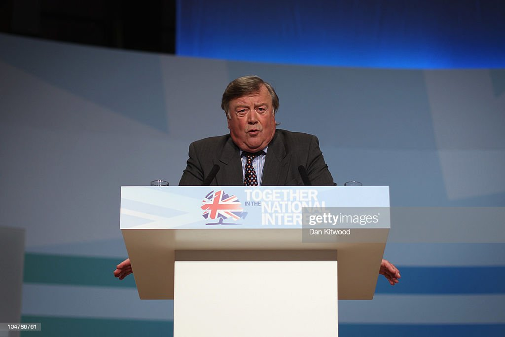 British Justice Secretary Kenneth Clarke speaks at the Conservative Party Conference on October 5 2010 in Birmingham England On the third day of the...