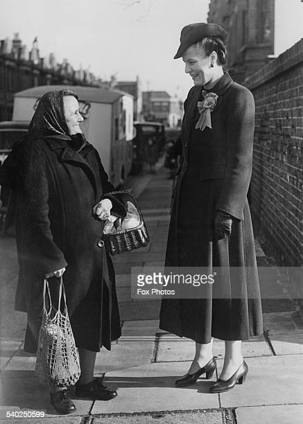 British Labour Party candidate for Fulham West Edith Summerskill Baroness Summerskill meeting possible voters in the runup to the General Election...