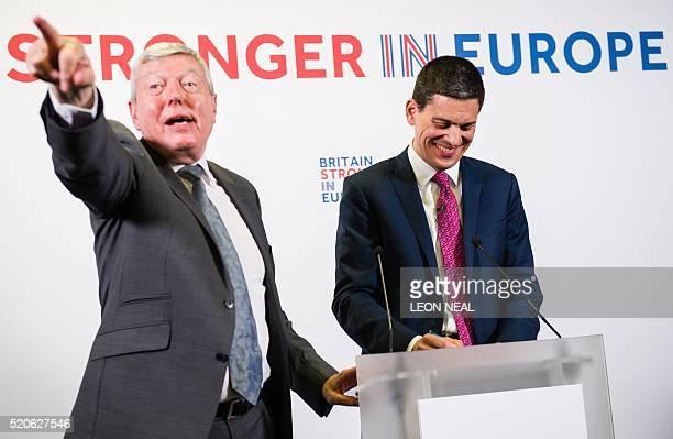 British Labour Party former home secretary Alan Johnson moderates as David Miliband former Labour Party politician and foreign secretary and current...