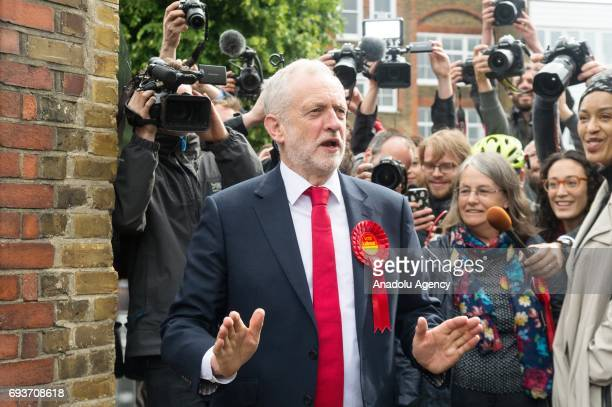 British Labour Party Leader Jeremy Corby leaves Pakeman Primary School polling station to vote in the General Election in London United Kingdom on...