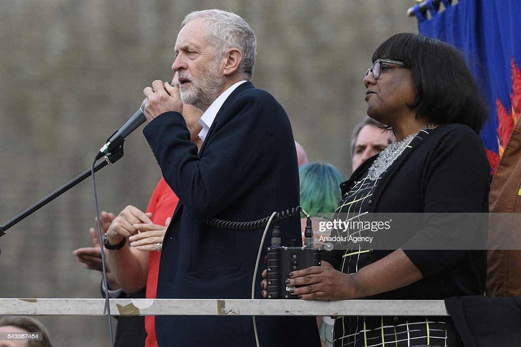 British Labour party leader Jeremy Corbyn (L) and Diane Abbot MP(R) speak at a rally in Parliament Square organised by the Momemtum organisation to keep him as Labour party leader after the EU Referendum in London, United Kingdom on June 27, 2016