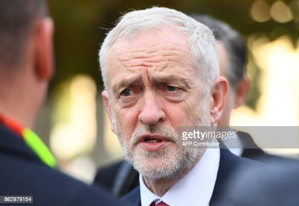 British Labour Party leader Jeremy Corbyn arrives for a meeting of the Party of European Socialists in Brussels on October 19 2017 on the side of the...
