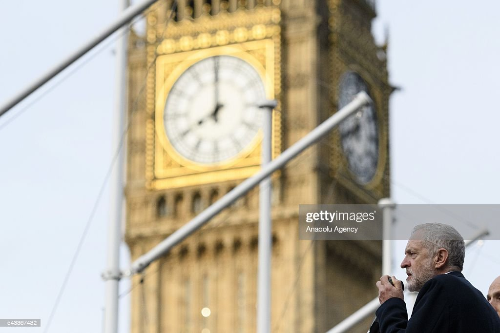 British Labour party leader Jeremy Corbyn speaks a at rally in Parliament Square organised by the Momemtum organisation to keep him as Labour party leader after the EU Referendum in London, United Kingdom on June 27, 2016
