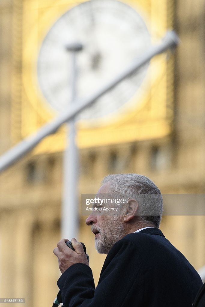 British Labour party leader Jeremy Corbyn speaks at a rally in Parliament Square organised by the Momemtum organisation to keep him as Labour party leader after the EU Referendum in London, United Kingdom on June 27, 2016