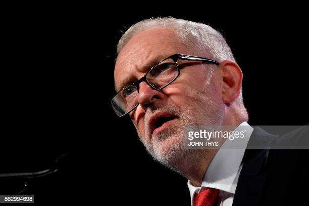 British Labour Party leader Jeremy Corbyn speaks during a meeting of the Party of European Socialists in Brussels on October 19 2017 on the side of...