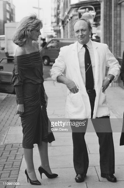 British Labour Party leader Neil Kinnock wearing a large white jacket with rolled sleeves 1st November 1984