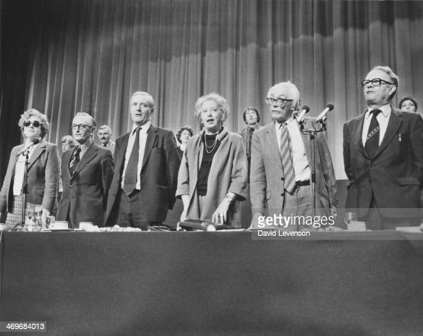 British Labour Party leaders singing 'The Red Flag' at a special Party Conference at Wembley London called to decide the method of electing the...