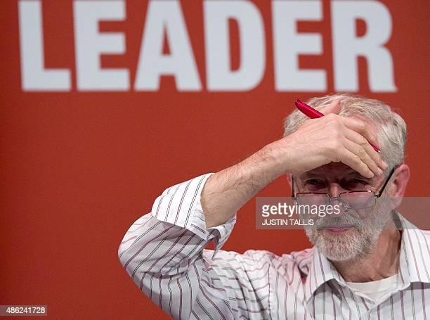 British Labour Party leadership candidate Jeremy Corbyn addresses a rally in Chelmsford east of London on September 2 2015 The results of the Labour...