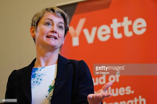 British Labour Party leadership candidate Yvette Cooper addresses party supporters during a question and answer session at the County Hall buildings...