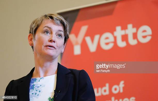 British Labour Party leadership candidate Yvette Cooper attends a question and answer session with party supporters at the County Hall buildings on...