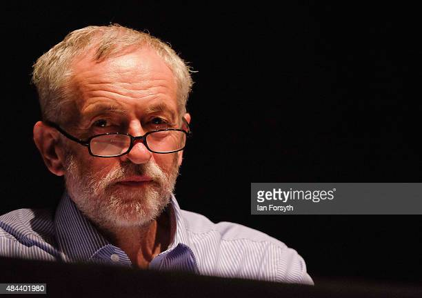 British Labour Party leadership contender Jeremy Corbyn addresses over a thousand supporters during a teatime meeting as part of a nationwide...