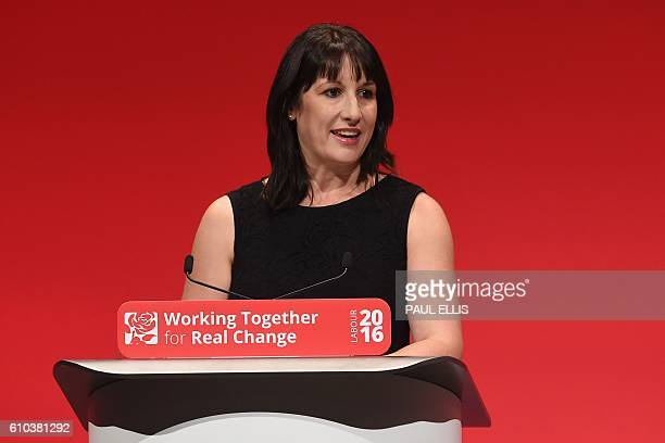 British Labour party Member of Parliament for Leeds West Rachel Reeves speaks on the first day of the Labour Party Conference in Liverpool on...