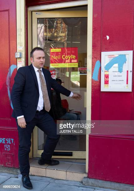 British Labour Party member of parliament Neil Coyle leaves his constituency office in London on December 4 2015 The politician reported top the...